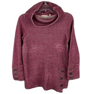 Soft Surroundings Tunic Sweater Cowl Neck Pullover Button Detail